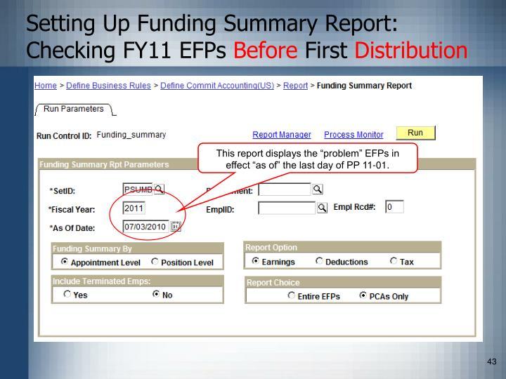 Setting Up Funding Summary Report: