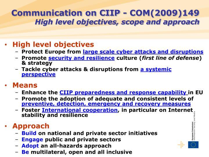 Communication on CIIP -