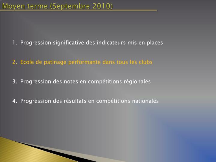 Moyen terme (Septembre 2010)