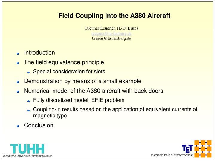 PPT - Field Coupling into the A380 Aircraft PowerPoint