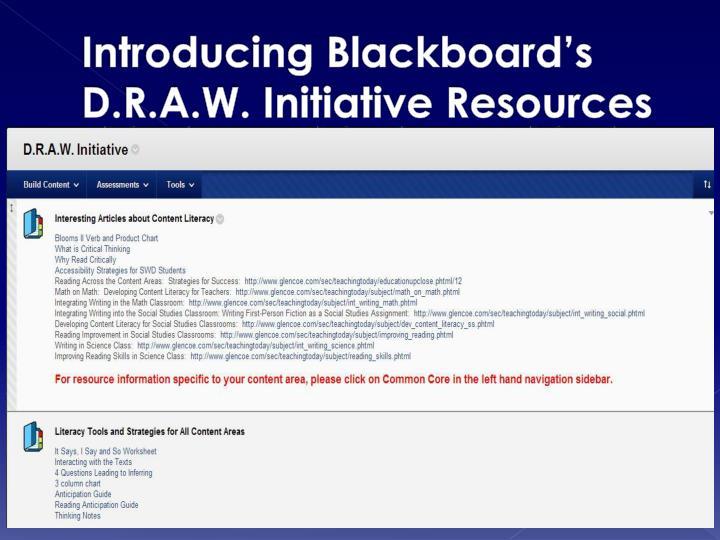Introducing Blackboard's D.R.A.W. Initiative Resources