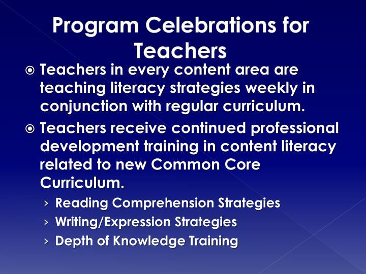 Program Celebrations for Teachers