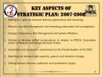 key aspects of strategic plan 2007 2008