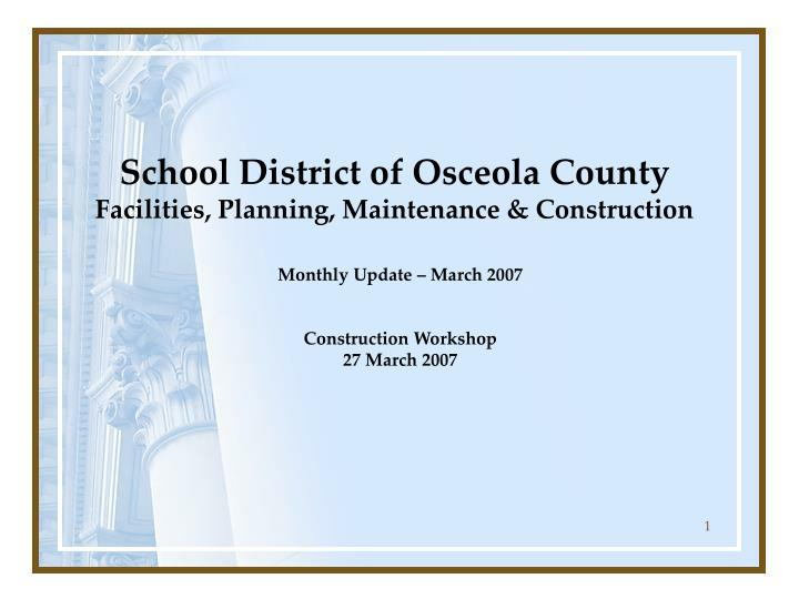 school district of osceola county facilities planning maintenance construction n.