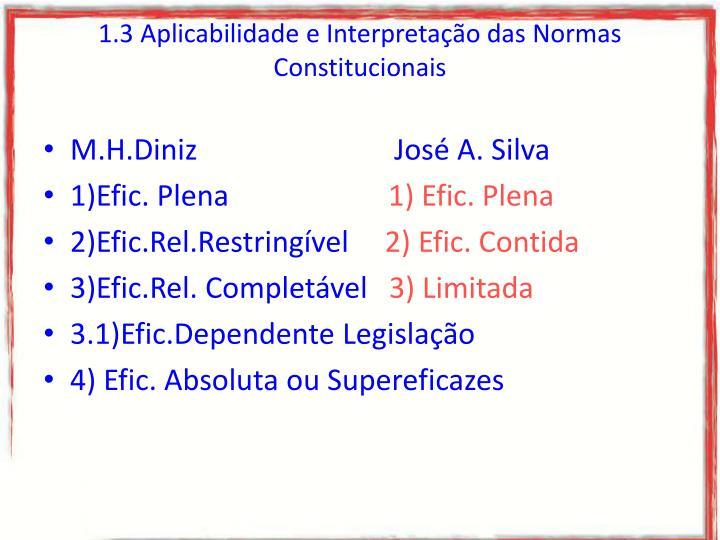 1.3 Aplicabilidade e Interpretação das Normas Constitucionais