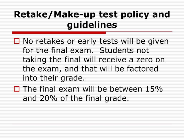 Retake/Make-up test policy and guidelines