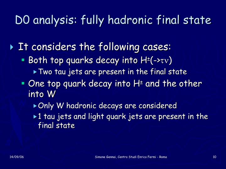 D0 analysis: fully hadronic final state