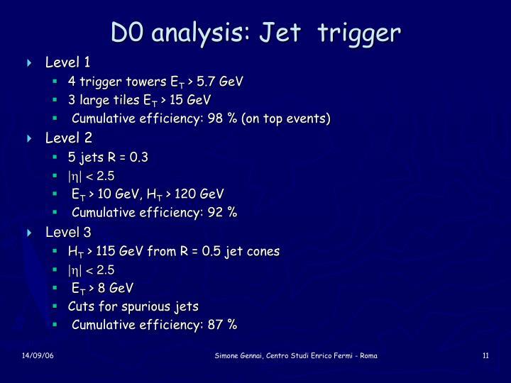 D0 analysis: Jet  trigger