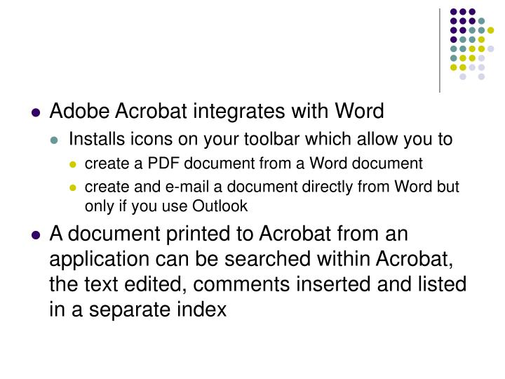 Adobe Acrobat integrates with Word
