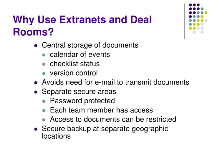Why Use Extranets and Deal Rooms?