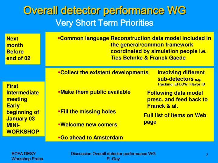 Overall detector performance wg