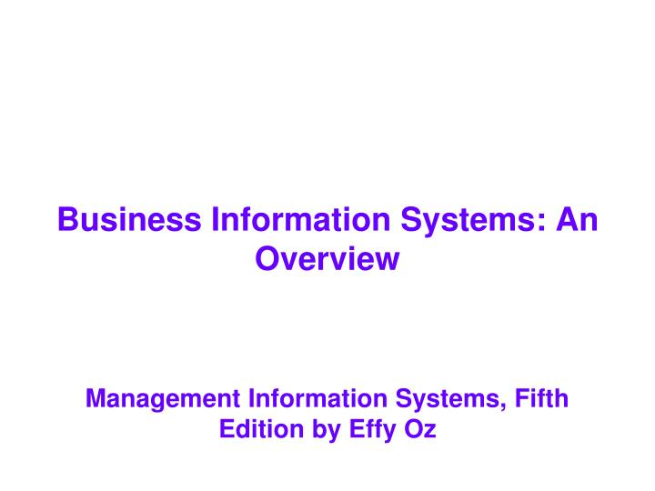 Business information systems an overview