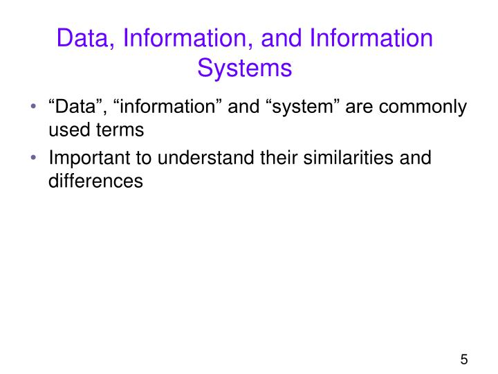 Data, Information, and Information Systems