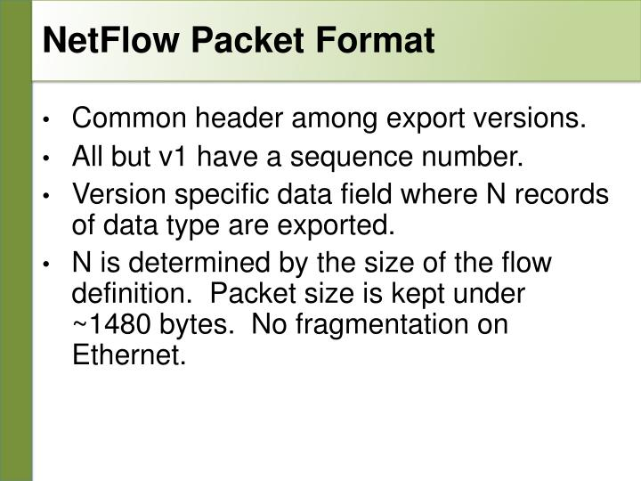 NetFlow Packet Format