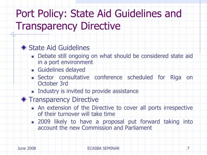 Port Policy: State Aid Guidelines and Transparency Directive