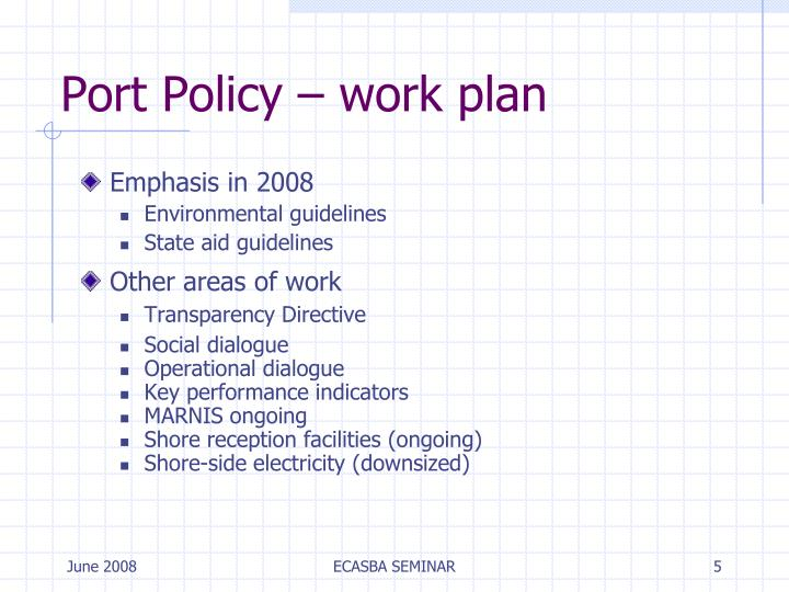 Port Policy – work plan