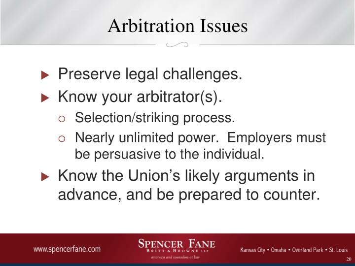 Arbitration Issues