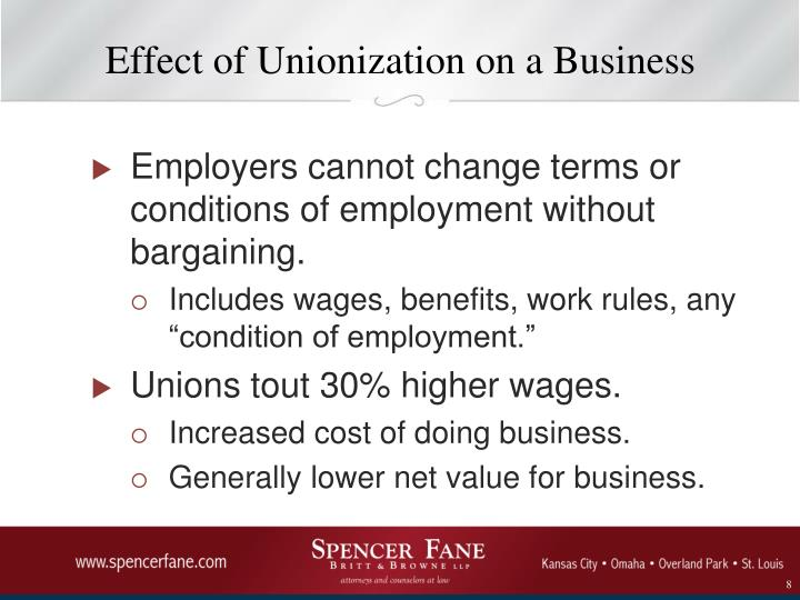 Effect of Unionization on a Business