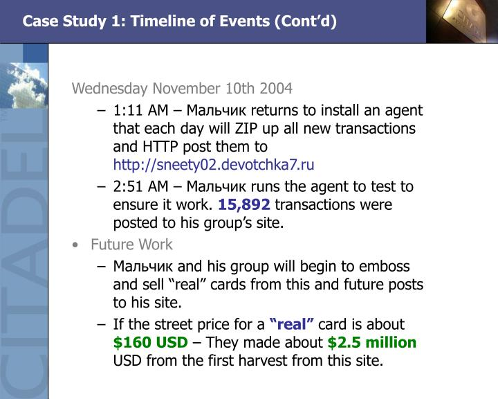 Case Study 1: Timeline of Events (Cont'd)