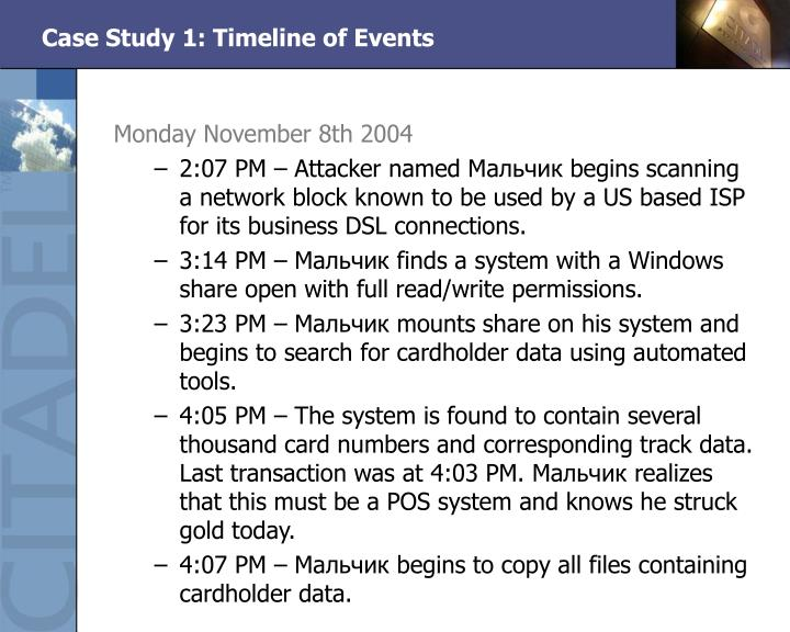 Case Study 1: Timeline of Events