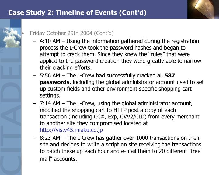 Case Study 2: Timeline of Events (Cont'd)