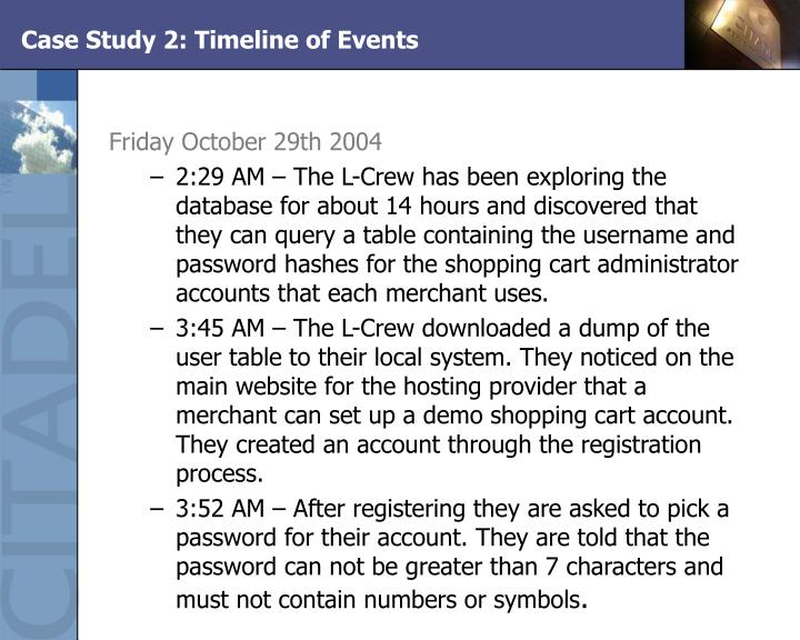 Case Study 2: Timeline of Events