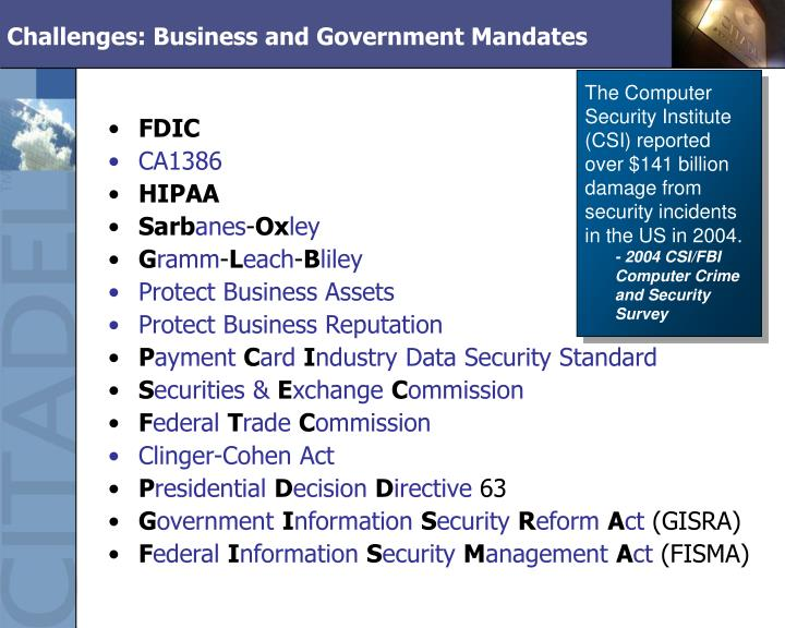Challenges: Business and Government Mandates
