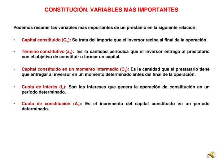 Constituci n variables m s importantes