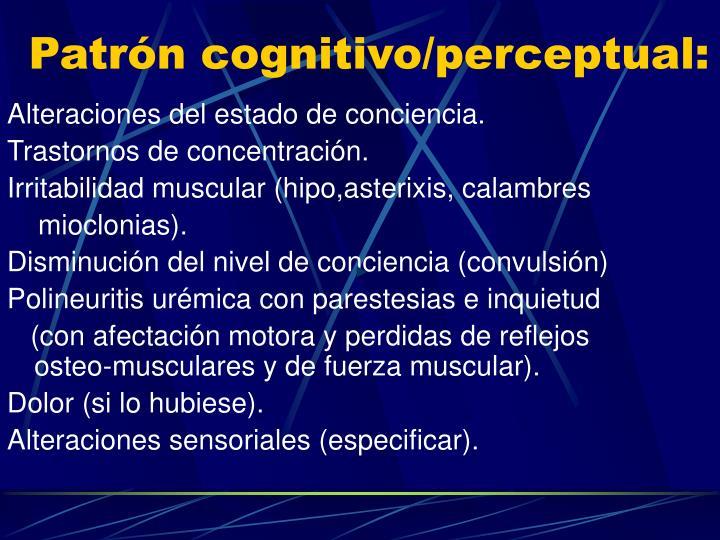 Patrón cognitivo/perceptual: