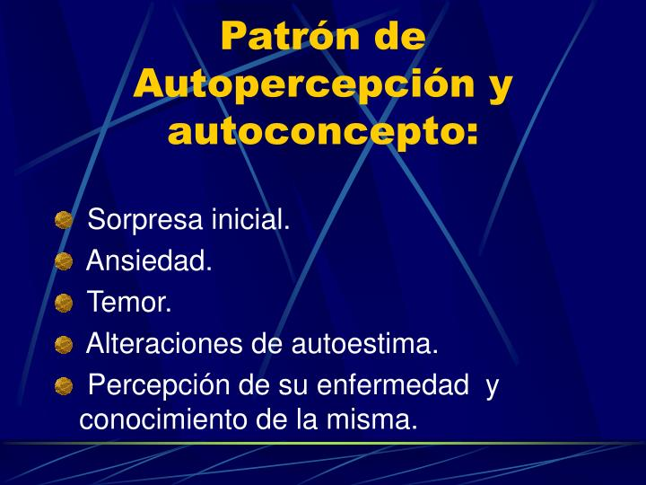 Patrón de Autopercepción y autoconcepto: