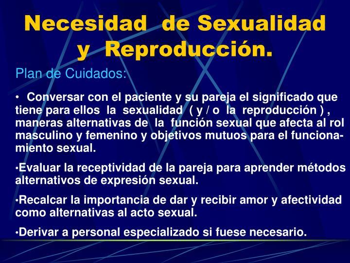 Necesidad  de Sexualidad