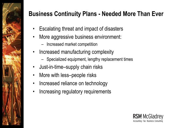 Business Continuity Plans - Needed More Than Ever