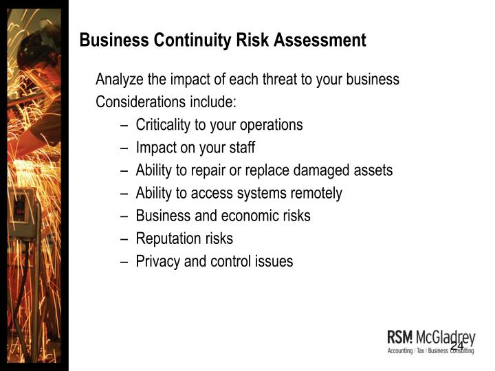 Business Continuity Risk Assessment