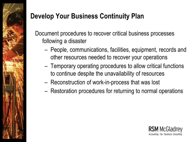 Develop Your Business Continuity Plan
