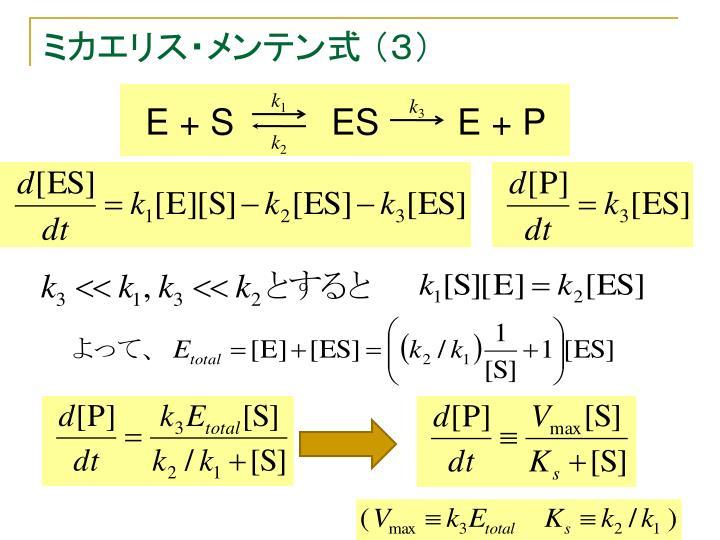 ミカエリス・メンテン式 (3)