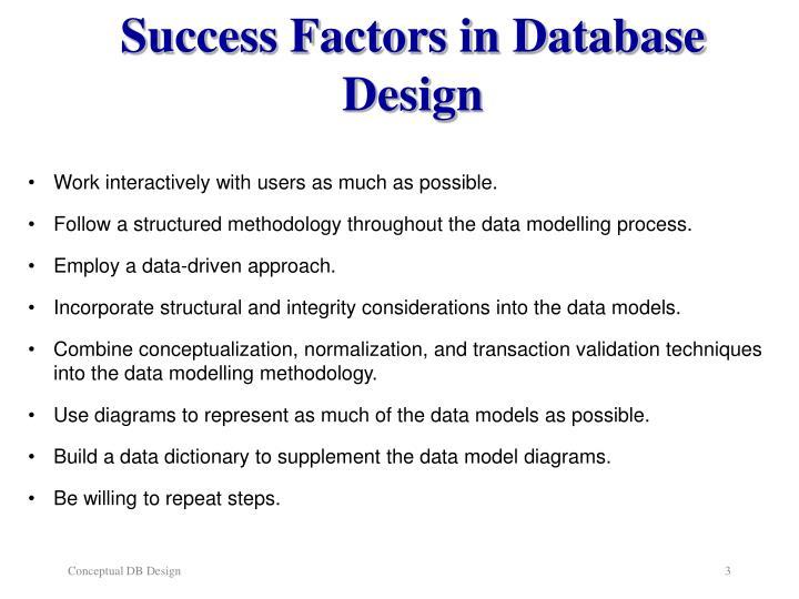 Success factors in database design