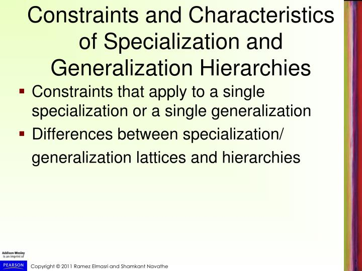 Constraints and Characteristics of Specialization and Generalization Hierarchies