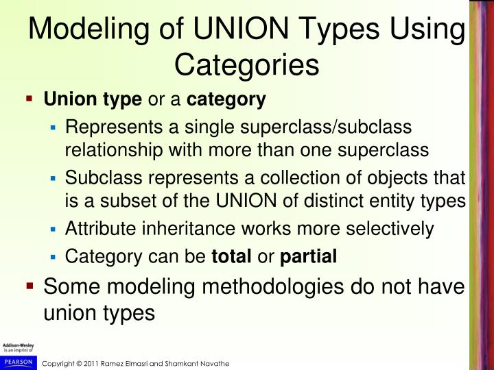 Modeling of UNION Types Using Categories