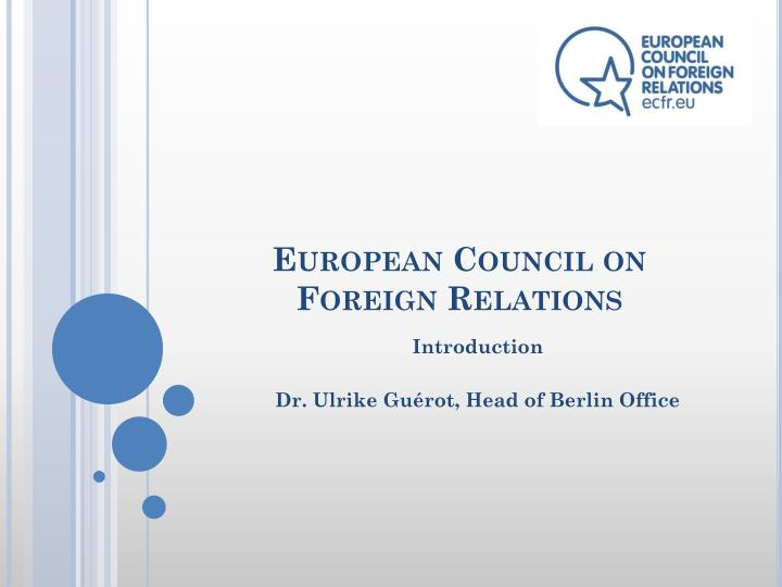 european council on foreign relations n.