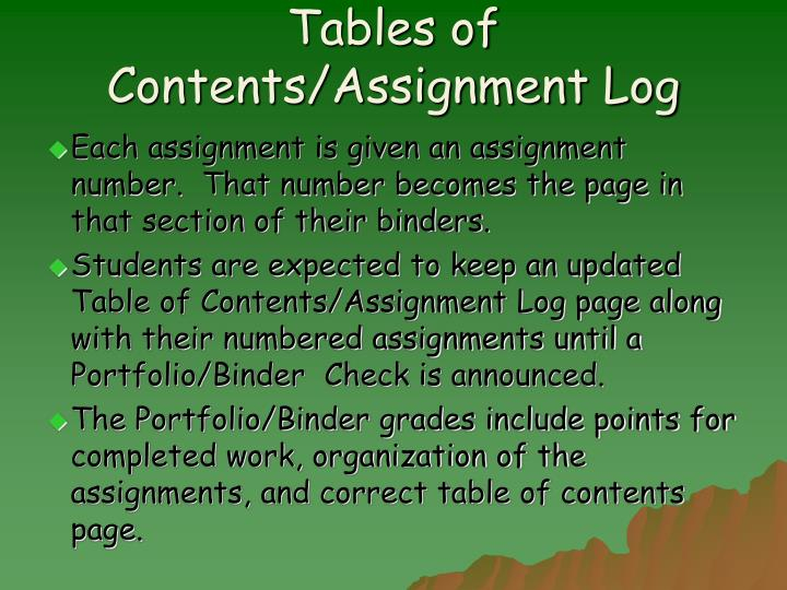 Tables of Contents/Assignment Log