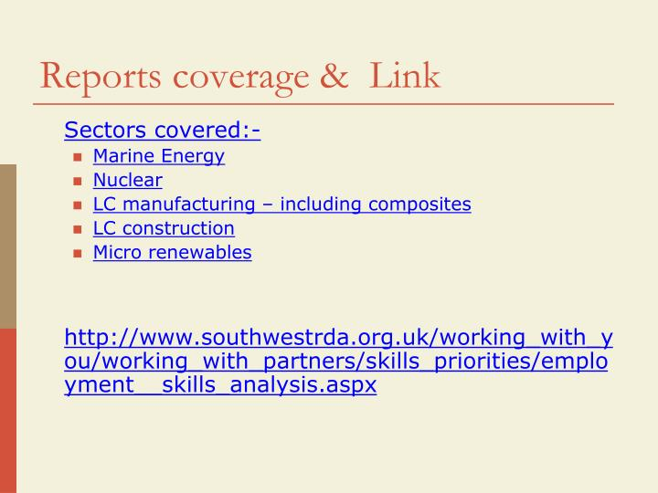 Reports coverage link