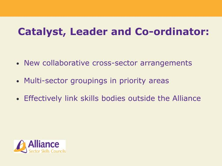 Catalyst, Leader and Co-ordinator: