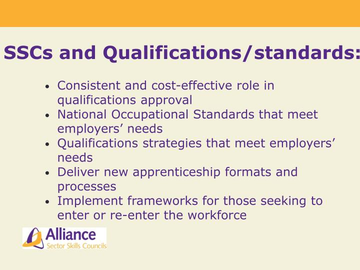 SSCs and Qualifications/standards: