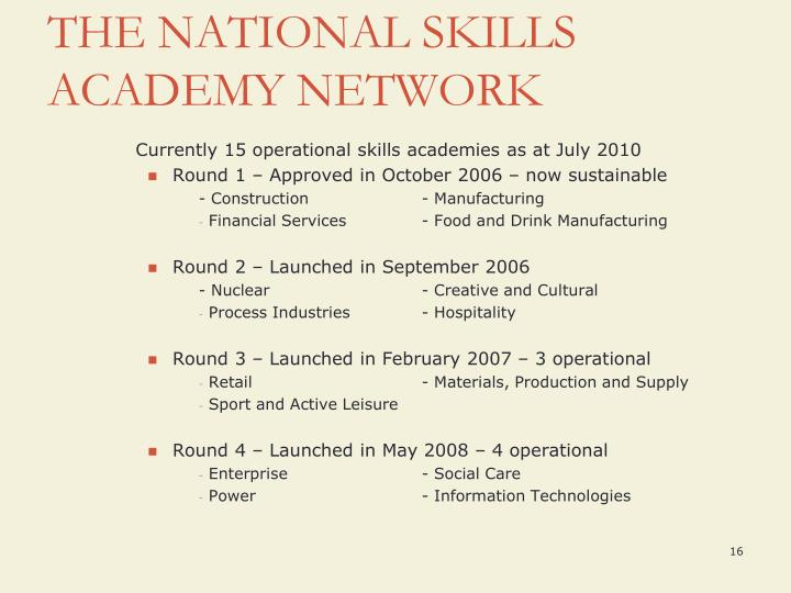 Currently 15 operational skills academies as at July 2010