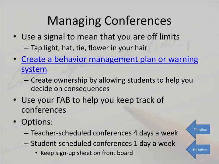 Managing Conferences