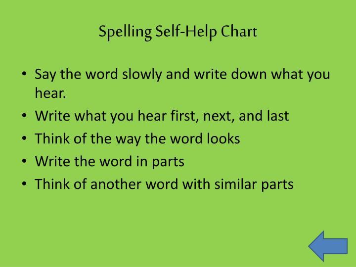 Spelling Self-Help Chart