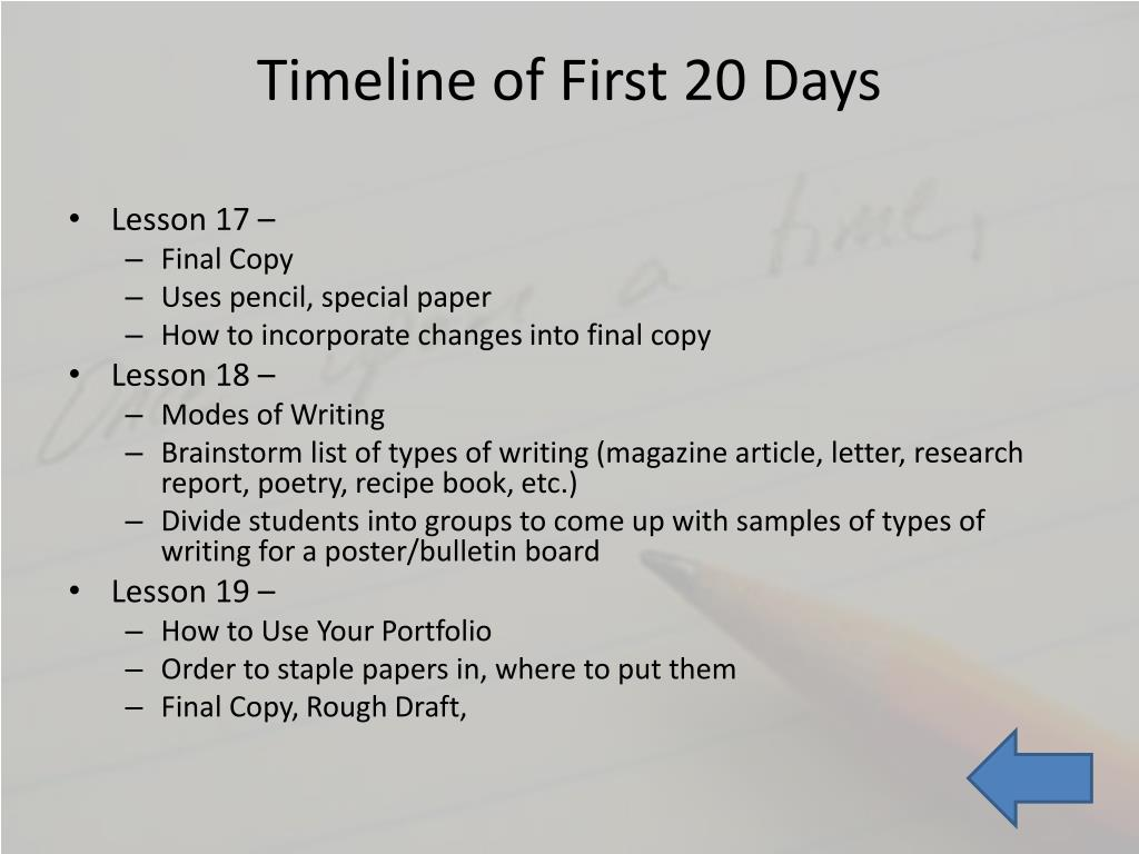 PPT - The First 20 Days of Writing PowerPoint Presentation