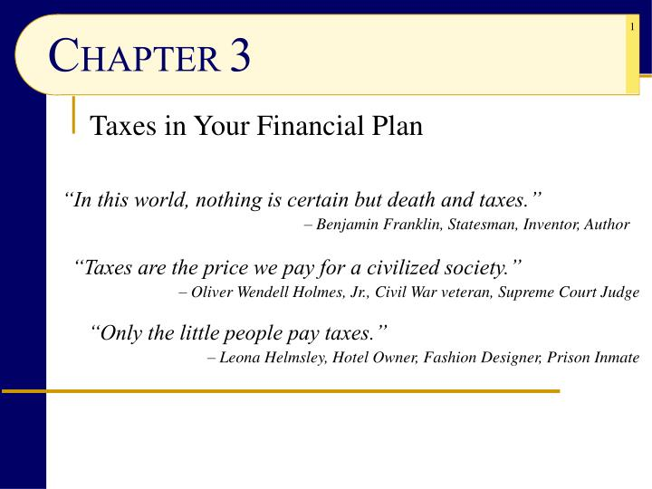 taxes in your financial plan n.