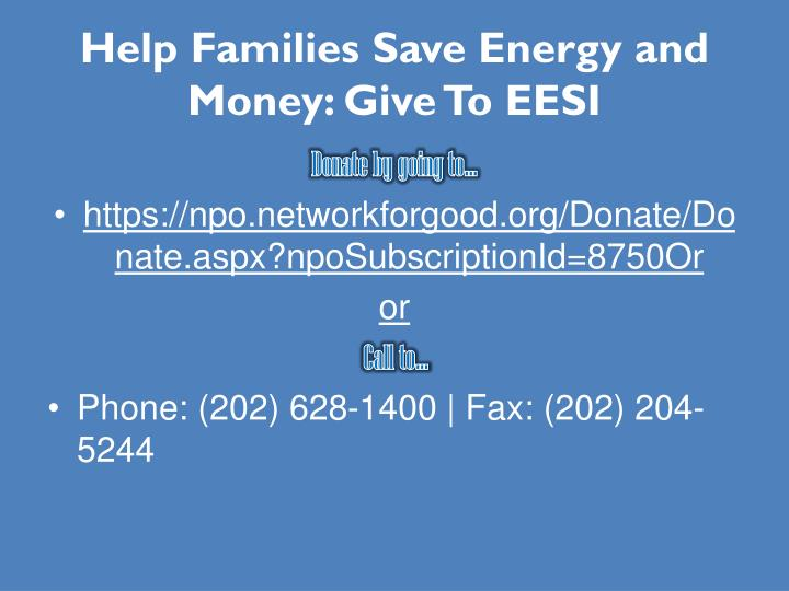 Help Families Save Energy and Money: Give To EESI