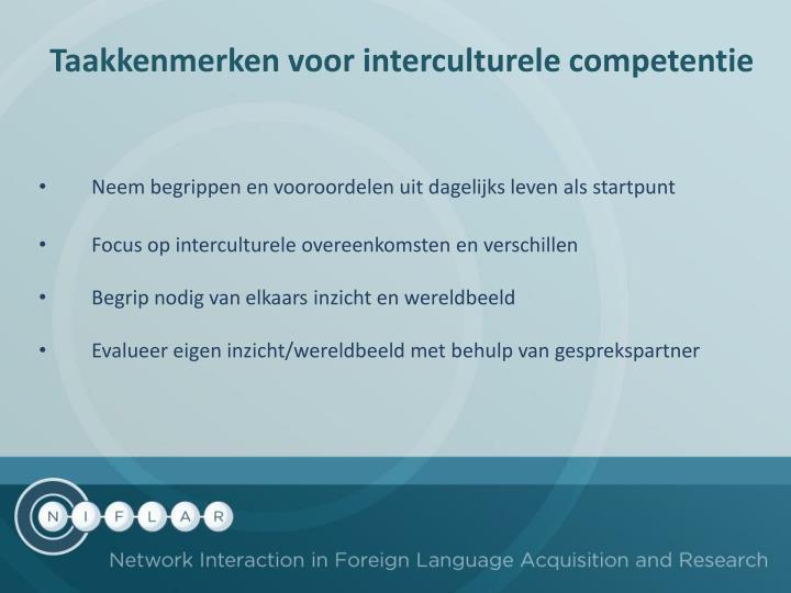 Taakkenmerken voor interculturele competentie